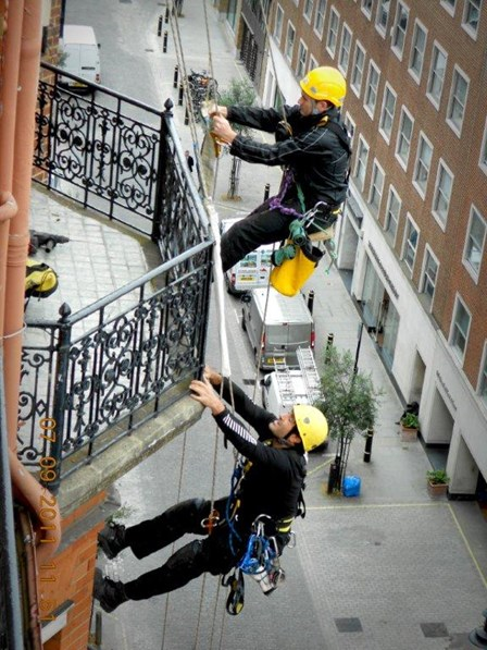 Rope access survey for structural repairs at Claridges Hotel, London