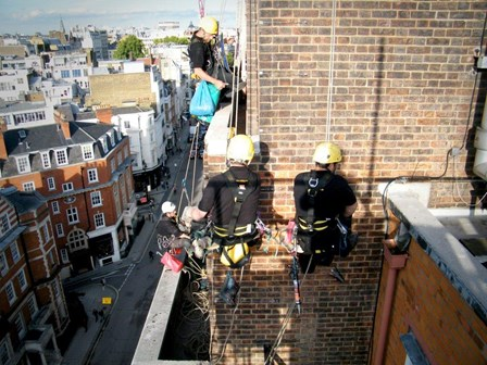 Rope access survey for structural repairs at Claridges Hotel, London, England
