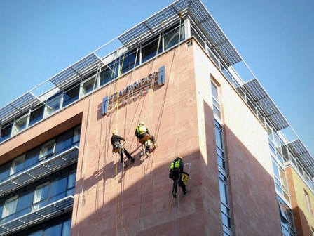 Rope access survey for structural repairs at Liverpool, England