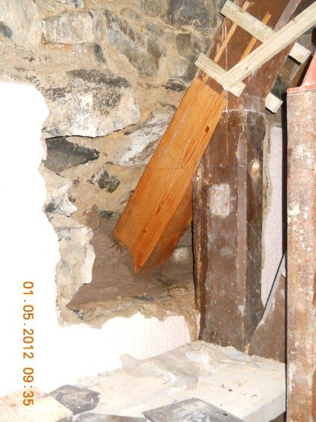The timbers affected with wet rot have been removed from the existing trusses, and a new portion of timber spliced on, using timber resin splice repair method, at Dunamore, Cookstown, Co. Tyrone, Northern Ireland