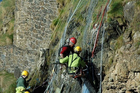 All structural repairs and cintec anchor installation to the cliff face were carried out by rope access (abseiling), at Dunluce Castle, Co. Antrim, NI