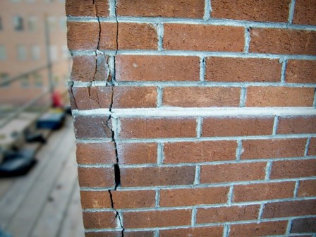 Cracks in the brick walls, due to cavity wall tie failure, Temple St, Dublin, Ireland