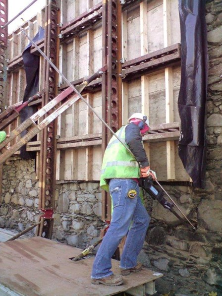 The cintec anchor is installed to stabilise the leaning wall at St Malachy's Wall, Bangor, Co. Down, Northern Ireland.