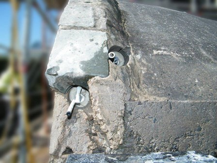 Cintec anchor used to repair fracture cracks in stone, at Ballynahinch, Co. Down, Northern Ireland