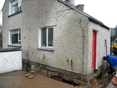 Stepped crack in the wall, caused by settlement and subsidence, at Ballykelly, Co. Derry, NI