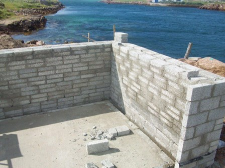New build basement, blockwork retaining walls cavity walls, with cavity drain basement waterproofing system, Co. Donegal, Ireland