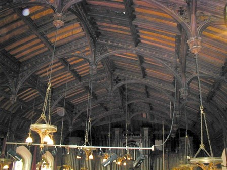 Detail of the existing ceiling and roof, which was treated with boron preservatives and insecticide, to eradicate wet rot, dry rot and woodworm at The Guildhall, Londonderry, NI