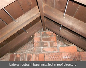 lateral restraint bars roof cracks in walls masonry bulging leaning belfast dublin northern ireland NI