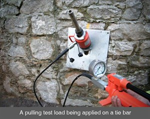 002 pull test load pattress plates tie bars retaining wall stone crack structural stability Armagh Belfast Northern Ireland NI