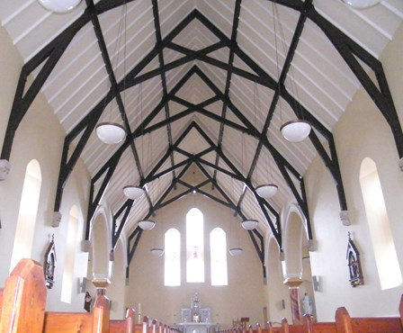 The finished church: Newlath membrane applied to walls; wood rot removed from trusses; trusses repaired & spliced; and structural repairs carried out, Co. Tyrone, Northern Ireland, NI