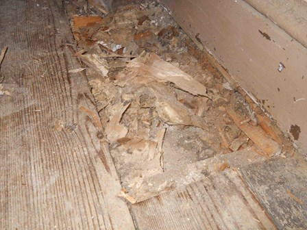 The flooring has been affected by the damp and wood rot, and has started to crumble, at Richhill Castle, Co. Armagh, Northern Ireland, NI