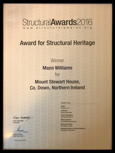 The Structural Awards 2016 Certificate for Structural Heritage, with Stronghold Preservation give a formal mention